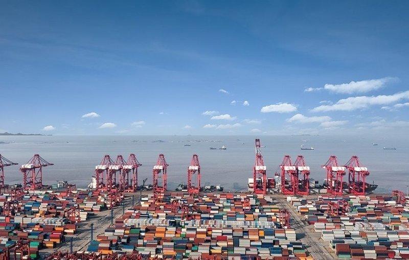 В грузовом порту Шанхая контейнеры готовы к отправке виды, города, китай, красота, необыкновенно, пейзажи, удивительно, фото