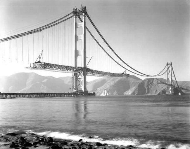 Строительство моста «Золотые Ворота», 1937 год