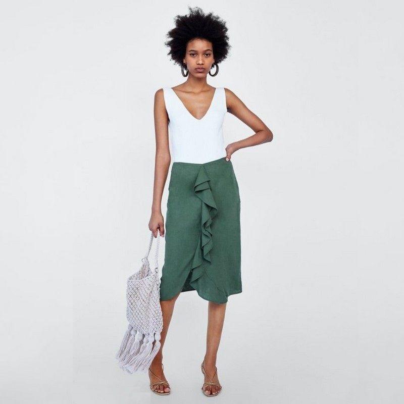 Весна 2020 — юбки сложного кроя, длина миди, фото № 8