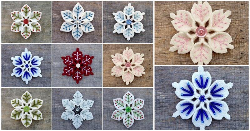 Фетровые снежинки: простое и очаровательное новогоднее украшение