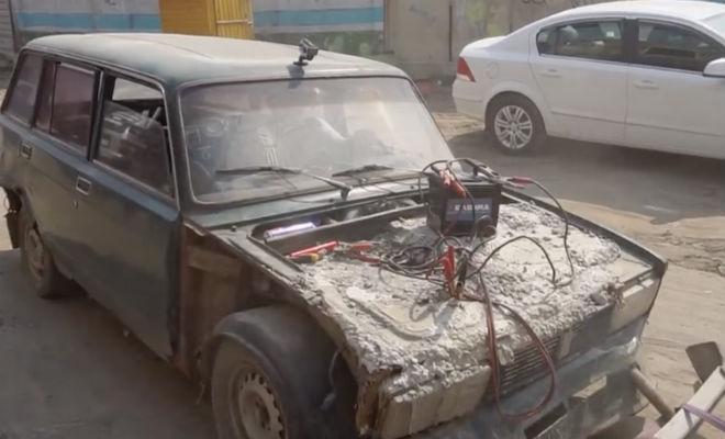 Забетонировали двигатель и пробуем его завести автомобиль,бетон,двигатель,механика,Пространство,эксперимент