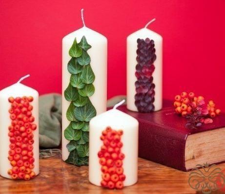 Свечи с натуральным декором