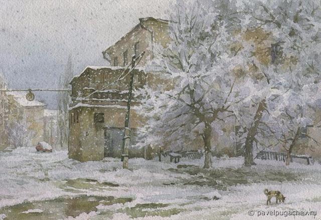 Мокрый снег. Проспект Металлургов (640x439, 306Kb)