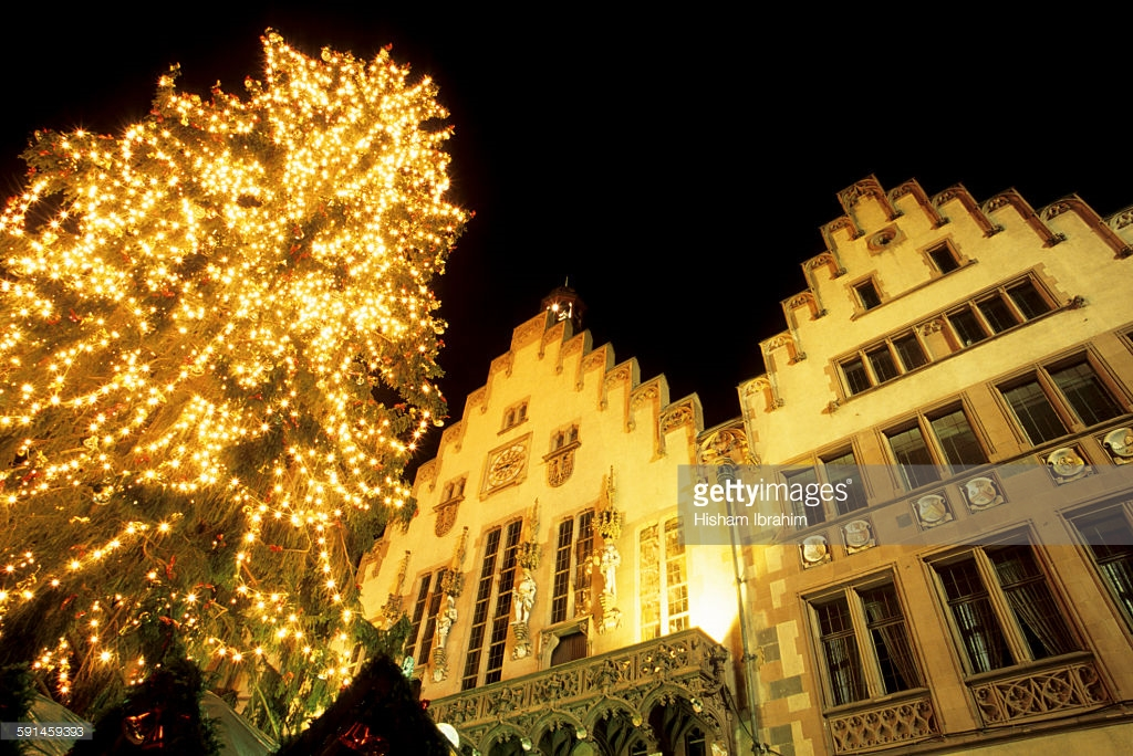 Romerberg, Romer at night : Stock Photo