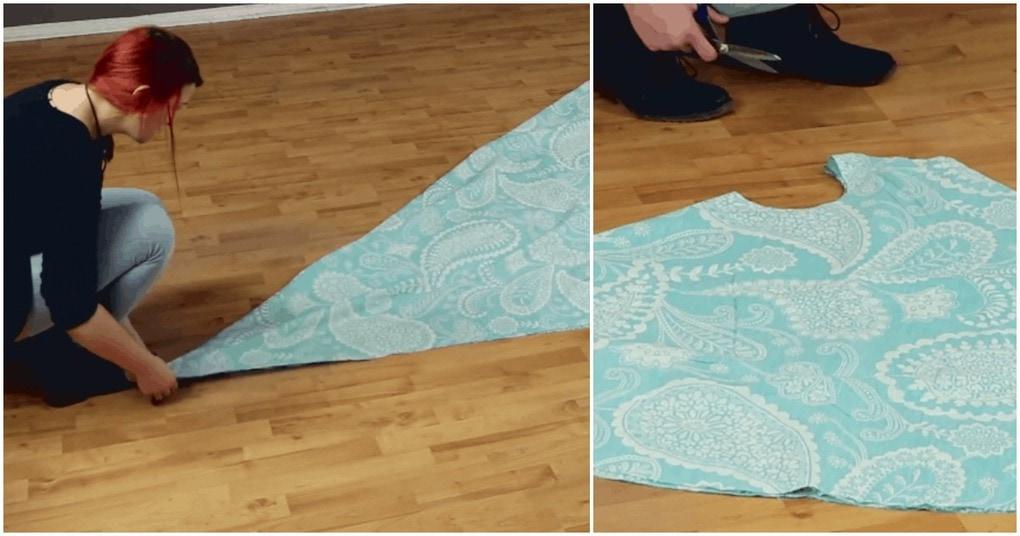 4 раза сложить, 3 раза отрезать и платье готово! Инструкция по созданию платья без ниток и иголки