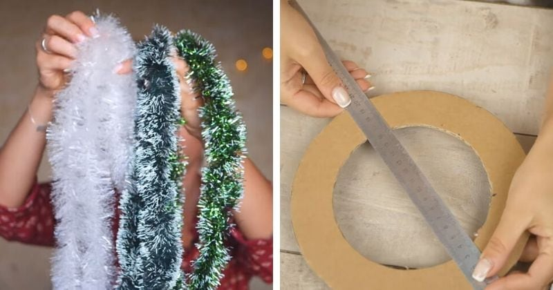 Красота к новогоднему интерьеру из картона и мишуры