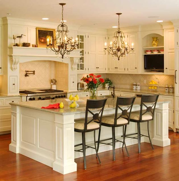Кухня в цветах: желтый, светло-серый, темно-зеленый, коричневый, бежевый. Кухня в стиле классика.