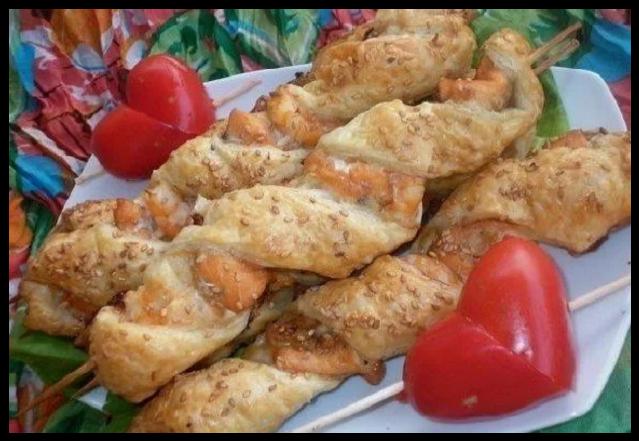 Рыбный шашлык с креветками
