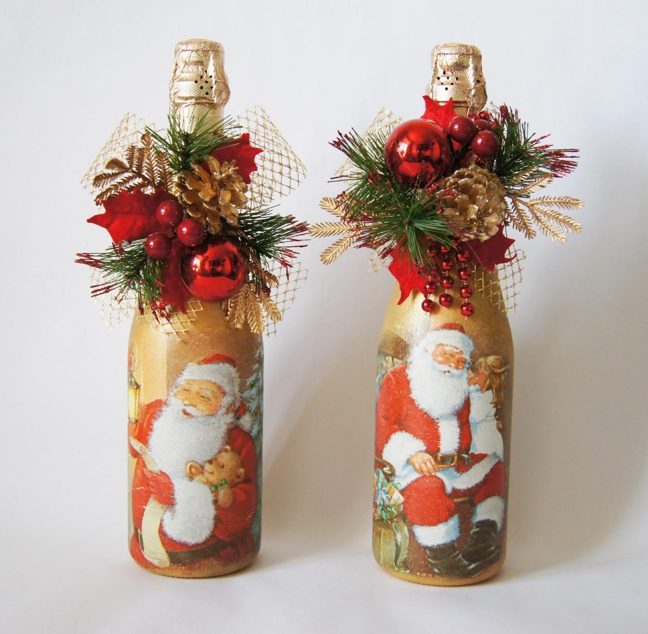 новогодние украшения бутылок своими руками фото