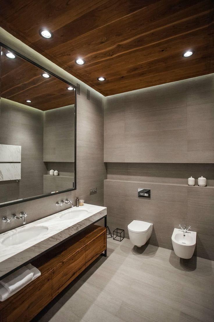 Коричневый и его оттенки едва ли ни самый распространенный и всеми любимый цвет, который используется в интерьере ванной комнаты
