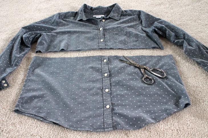 Как из старой рубашки сшить новый пуловер с баской
