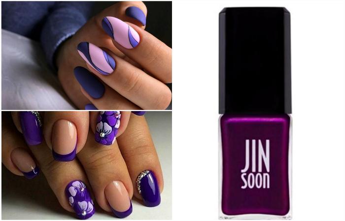 Модный маникюр в хитовых фиолетовых оттенках