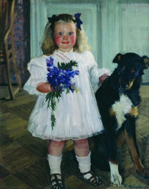 Портрет Ирины Кустодиевой с собакой Шумкой. (1907). Автор: Б.М.Кустодиев.
