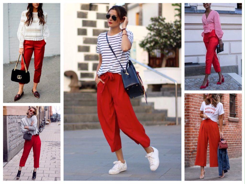 красные укороченные брюки