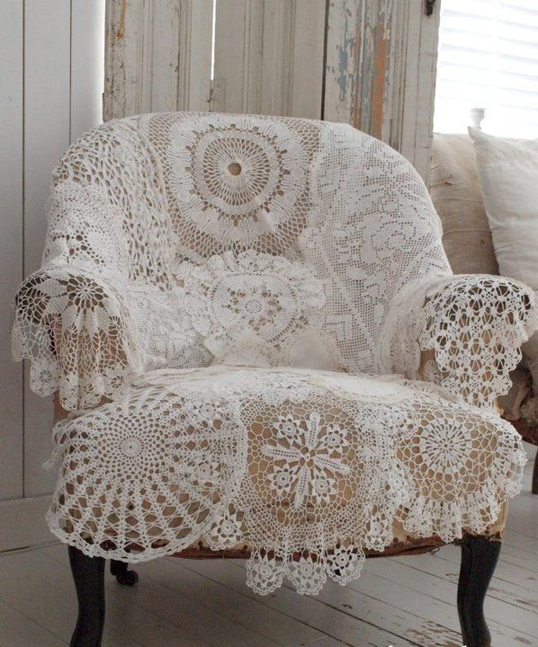 vintage chair covered in crochet doilies