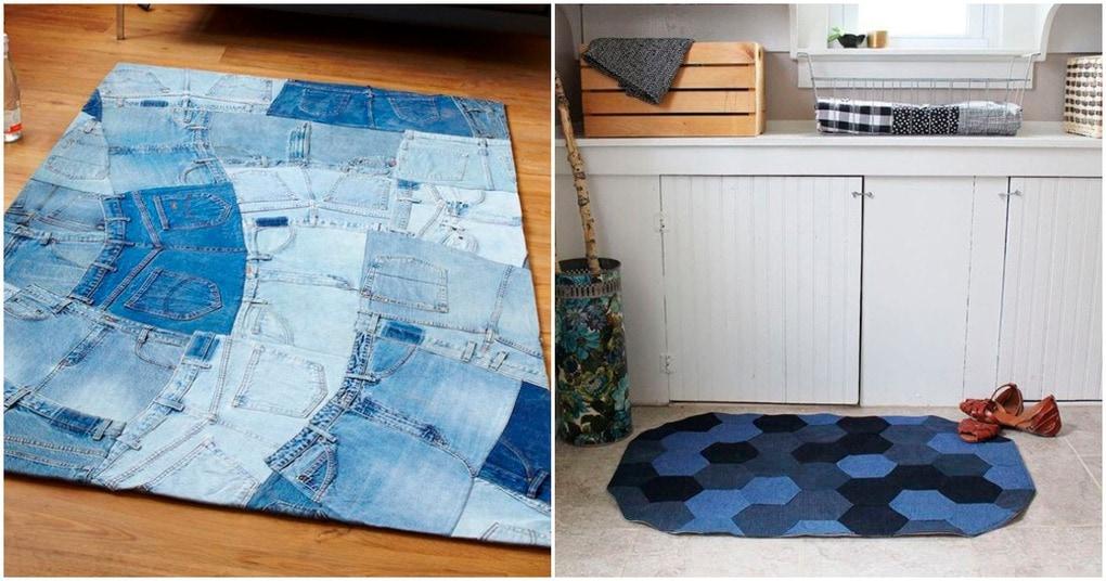 Простой и оригинальный коврик из старых джинсов, который украсит любой дом