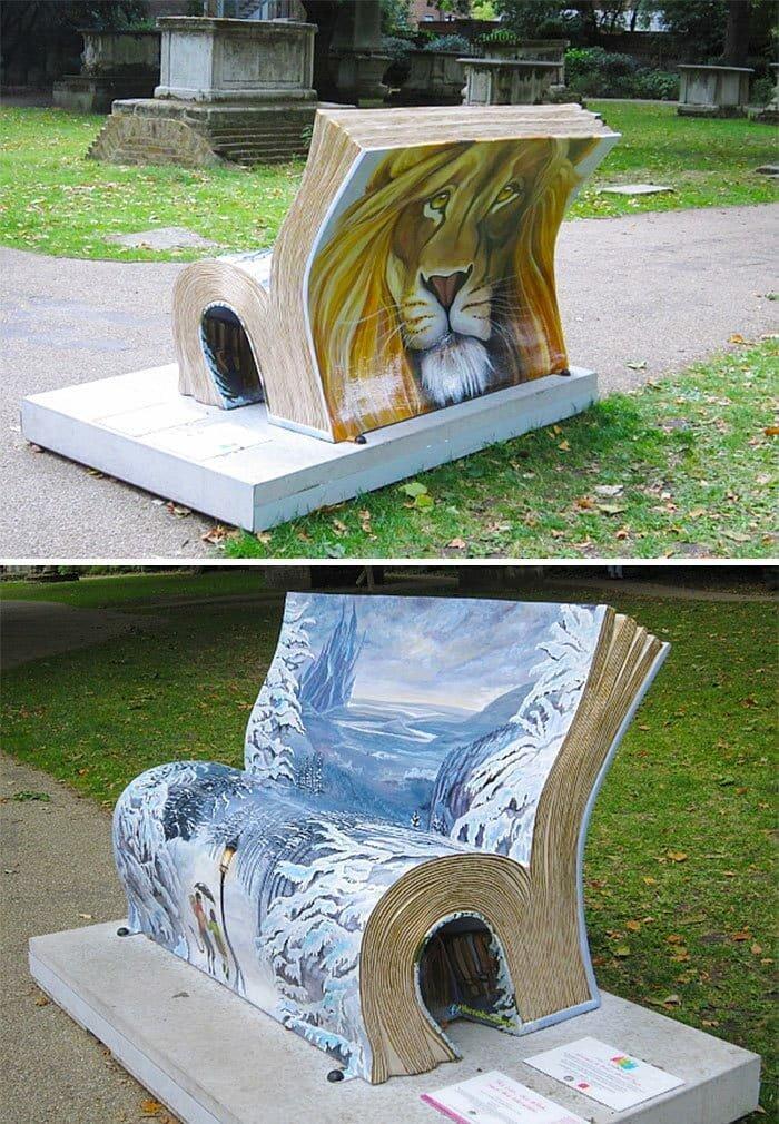 Лев, колдунья и платяной шкаф, Лондон в мире, в парке, красота, креатив, лавочка, скамейка, удобство, фантазия