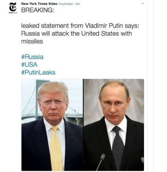 """""""Решение принято"""": New York Times испугался своего твита о """"ракетном ударе"""" РФ по США"""