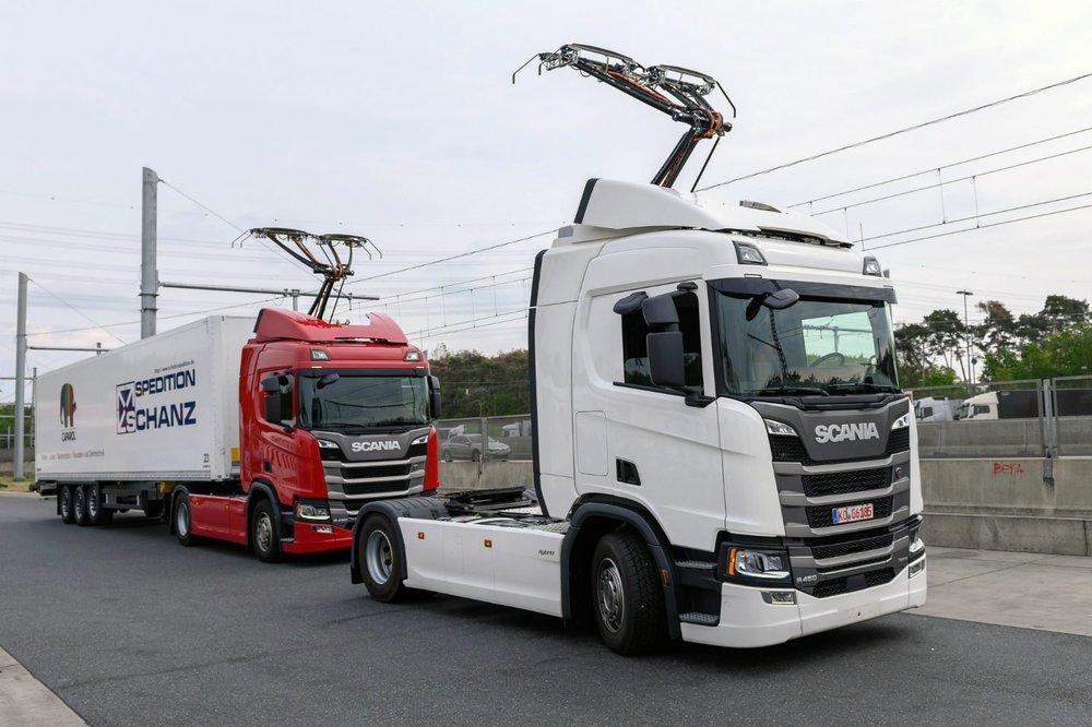 В Германии открылся первый электрический автобан грузовики,марки и модели,электромобили
