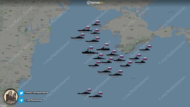 Показана концентрация российских боевых кораблей у берегов Крыма