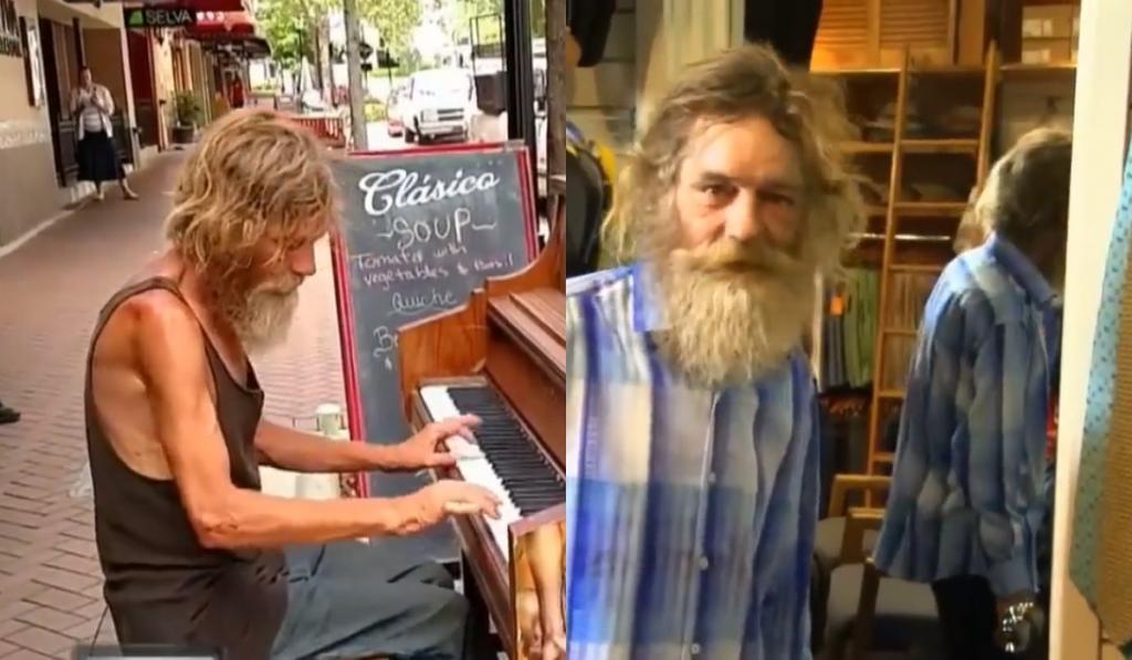 Старый неопрятный бездомный играл на пианино. Добрые люди решили отвести его к стилисту, и старик преобразился до неузнаваемости