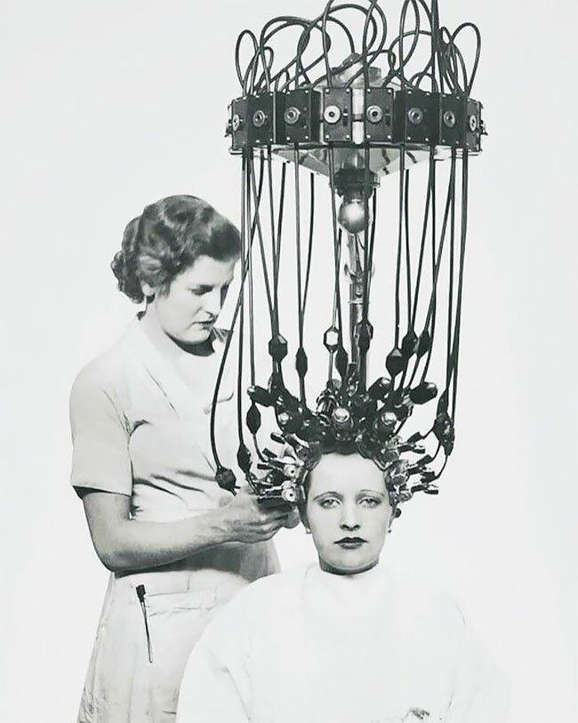 18. Машина для перманентной завивки волос, 1935 год винтаж, интересно, исторические кадры, исторические фото, история, ретро фото, старые фото, фото