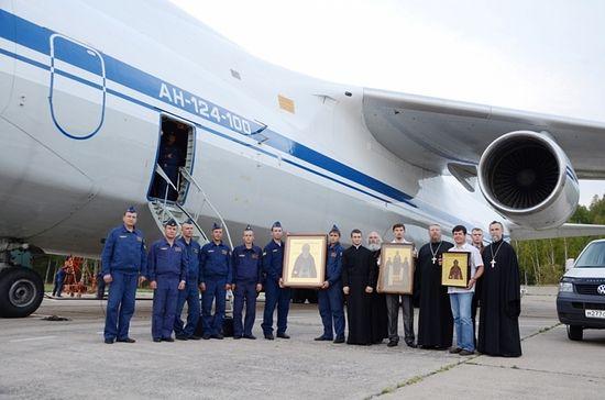 Брянскую область облетели с иконами на военном самолете