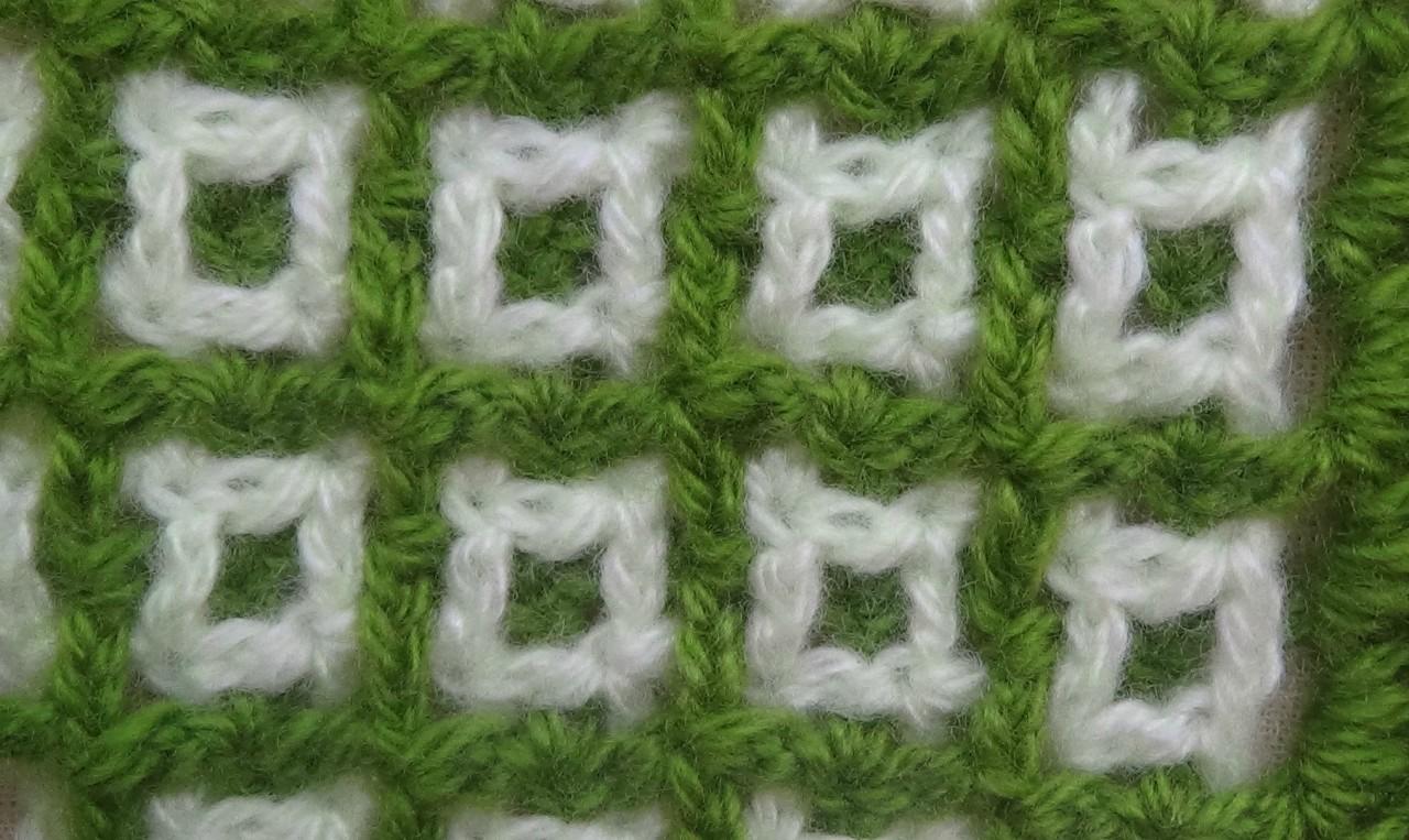 Двухцветная филейная сетка - узор КВАДРАТИКИ. crochet patterns