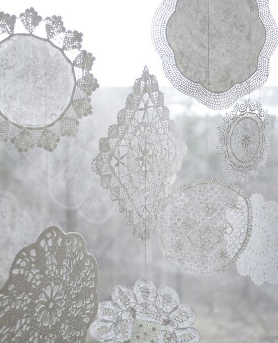 Starched Doily Snowflakes