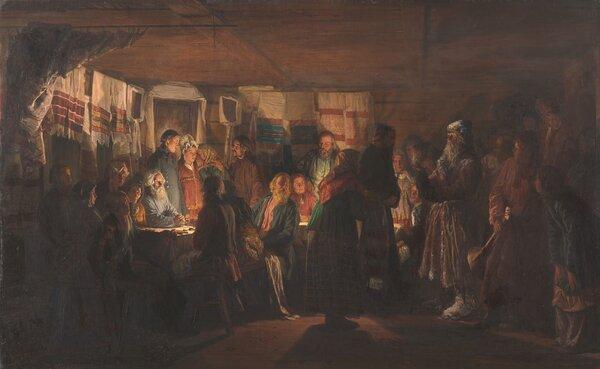 Приход колдуна на крестьянскую свадьбу. 1875. Третьяковская галерея