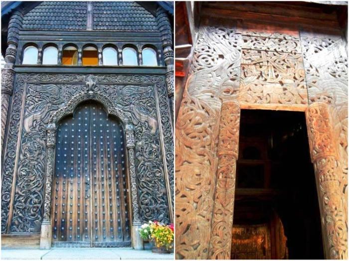 Вход в храм изысканно декорировали резьбой с растительным орнаментом или языческими символами. | Фото: dom.ukr.bio.