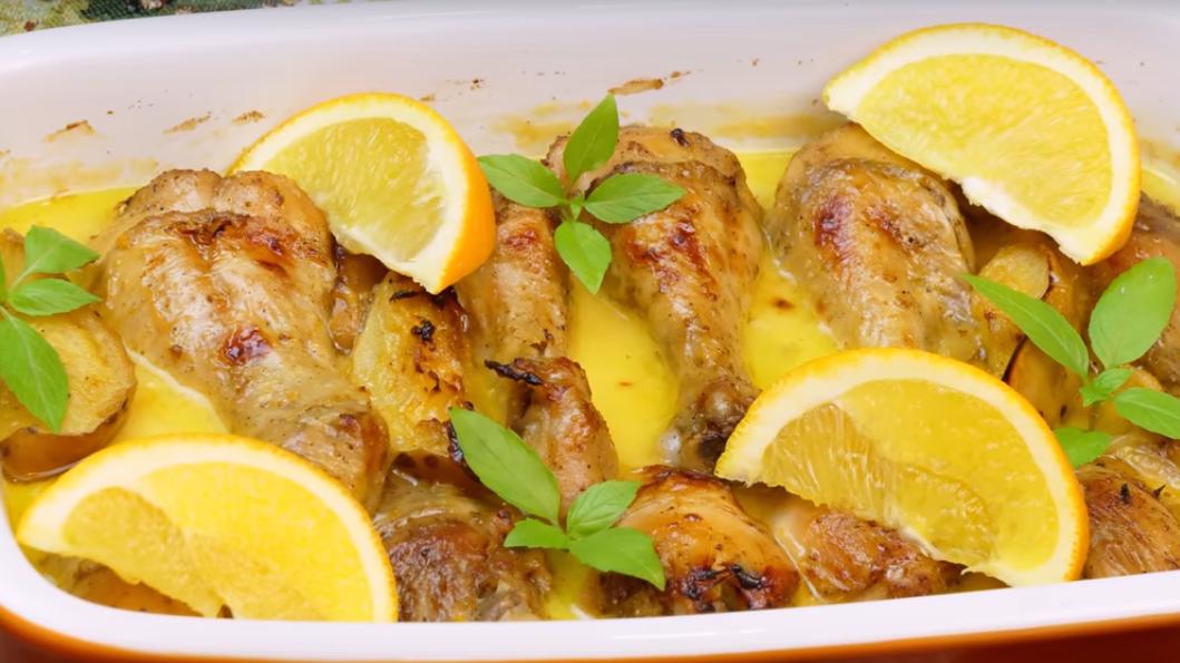 Куриные голени в сливочно - апельсиновом соусе