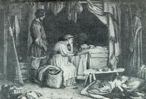Больное дитя. 1864. Картина утрачена - и известна лишь по офорту.