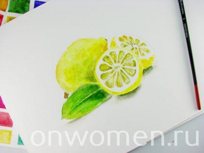 Лимон акварелью мастер-класс,рисунок