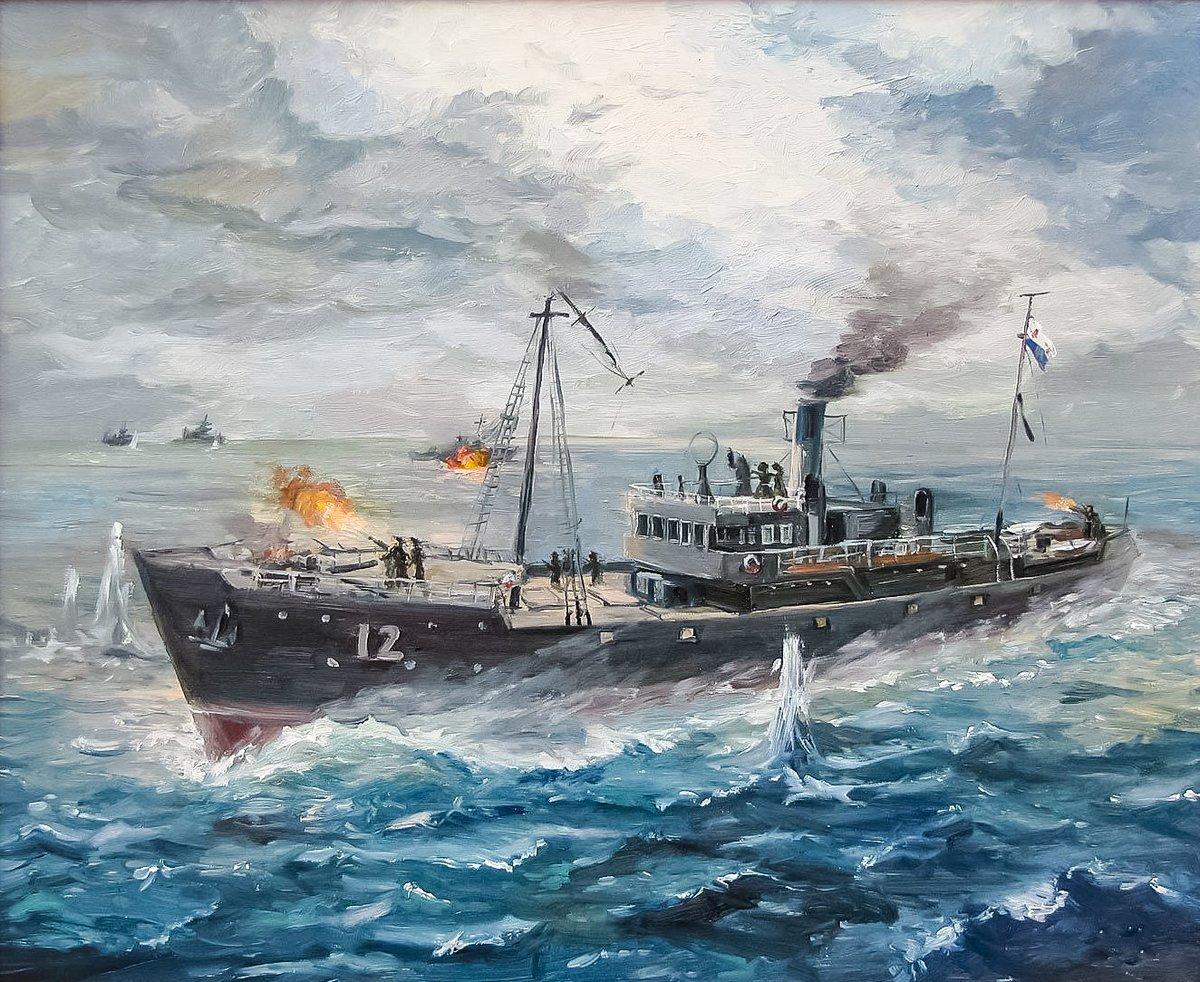 1941 год. Русский рыболовный траулер до конца противостоял в бою трем немецким эсминцам