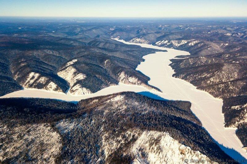 Слева залив Сержакова, правее продолжается Бирюсинский. Красноярский край, высота, гора, красноярск, пейзаж, пещера, природа, фото