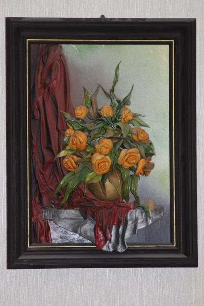 Объемные картины из кожи Андрея Коробейникова