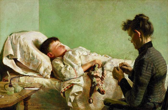 Если семья могла себе позволить, к больным нанимали сиделок. Картина Джона Франциско.