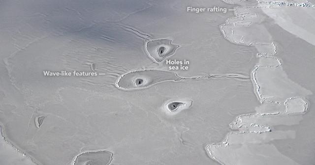 Странные отверстия на льду Арктики