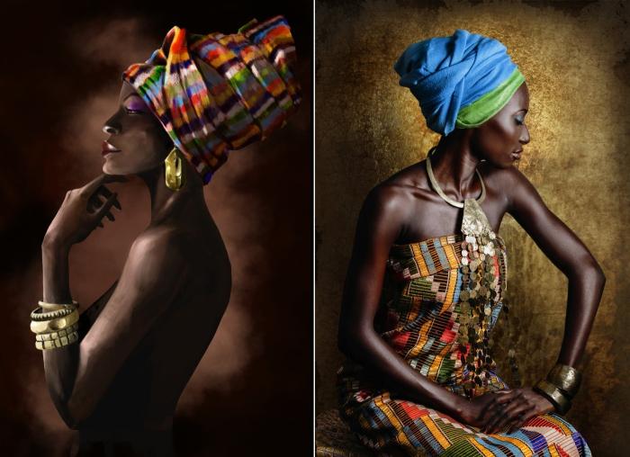 Современные африканские женщины в роскошных традиционных нарядах