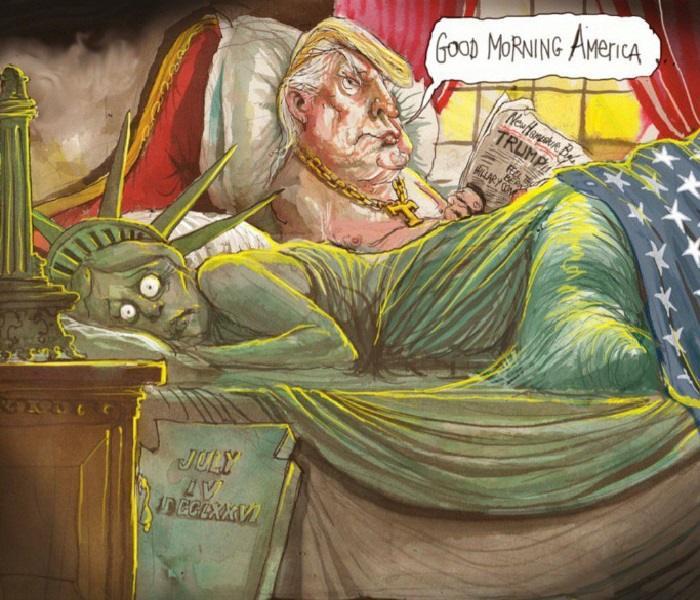 16 беспощадных иллюстраций, разносящих в пух и прах политику Трампа.