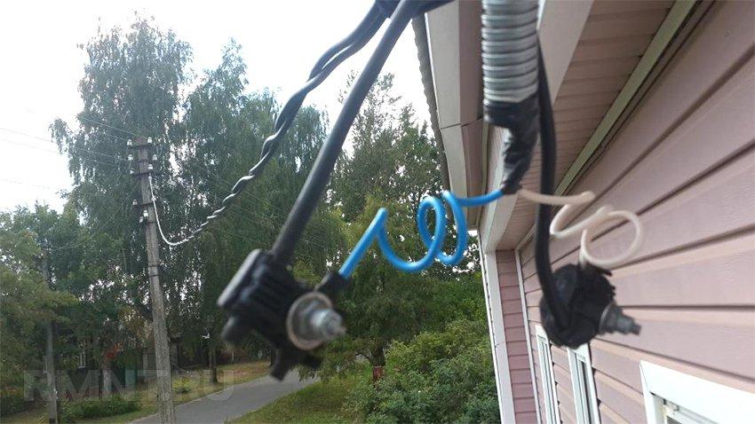 электрический ввод в дом по воздуху фото включил