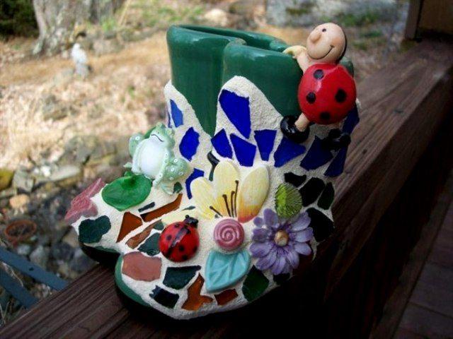Интересный декор из битой посуды вдохновляемся,декор