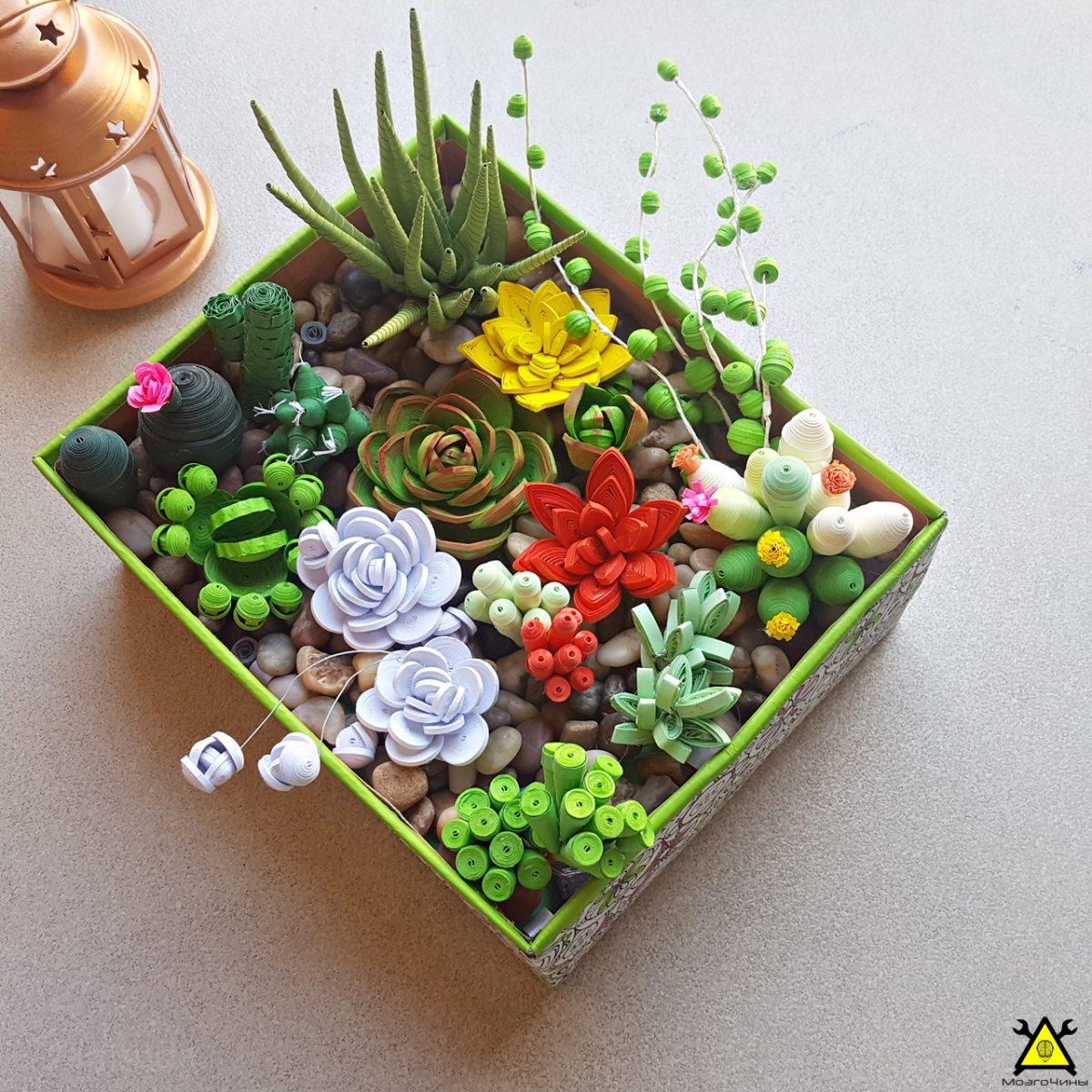 Настольный мини сад в технике квиллинга своими руками
