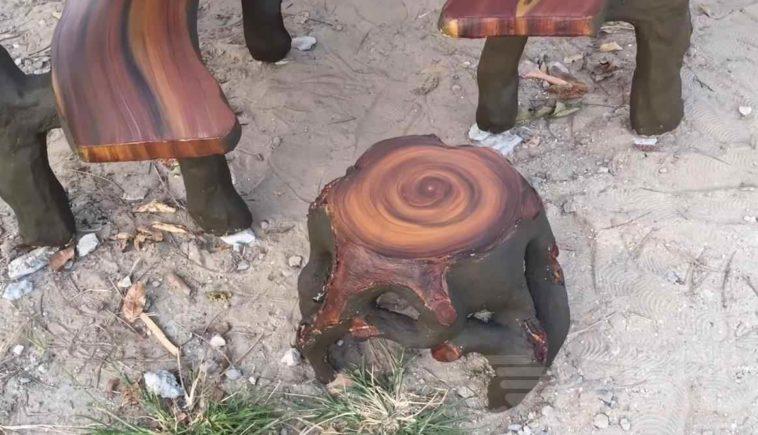 Садовый стульчик из бетона в виде пенька