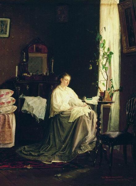 Мечты о будущем. 1868. Русский музей. На этой картине изображена жена художника