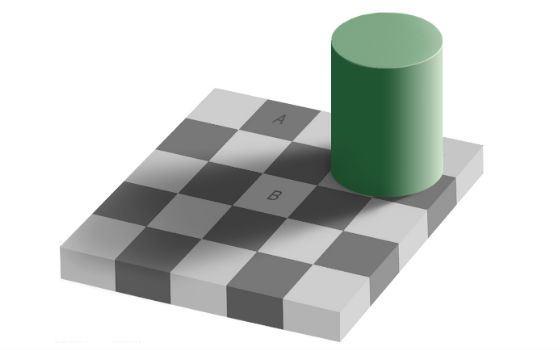 Квадраты A и B на Ñамом деле одинакового цвета
