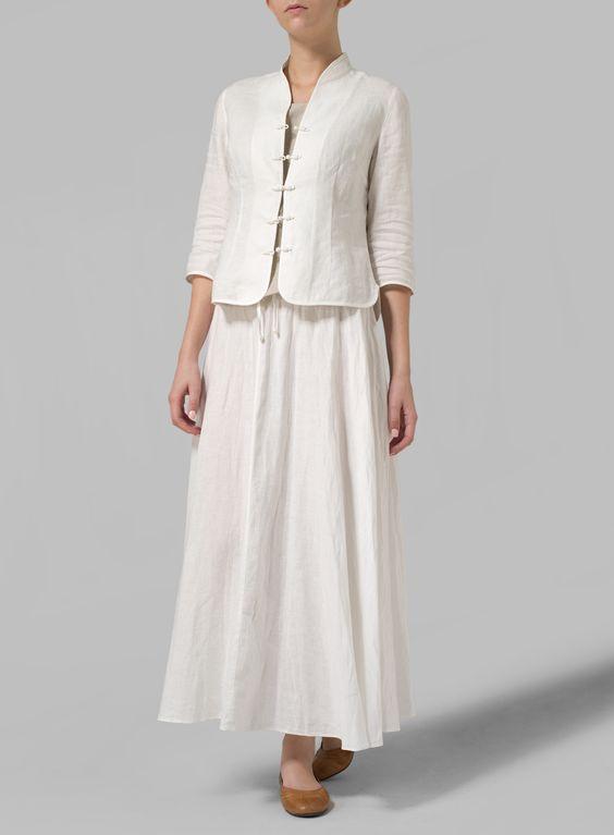 Linen Long Flared Skirt: