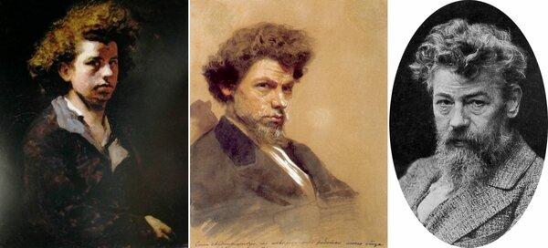 Портреты художника Василия Максимова: автопортрет (в 1863-м году, в возрасте 19-ти лет);  акварель работы Крамского и фотография.