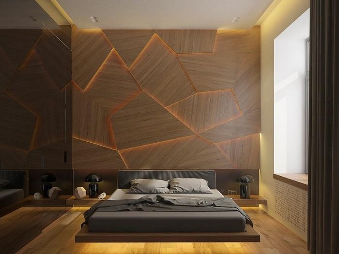 Декор стены деревом поможет создать уют в квартире